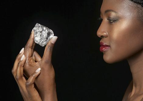 Photo of the 478-carat diamond that has been unearthed at a mine in Lesotho, Southern Africa