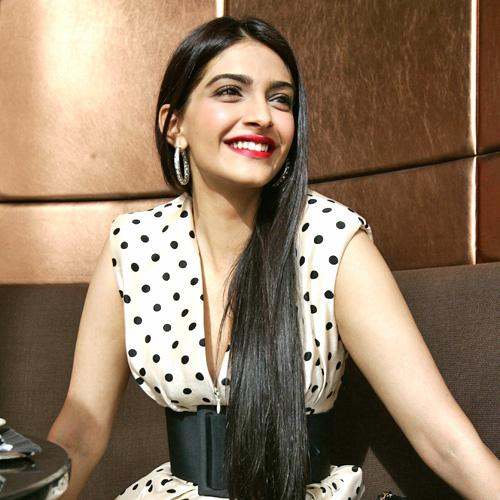 Sonam Kapoor sporting Diamond Hoop Earrings. Contact us and we will help you create that perfect pair of hoops.